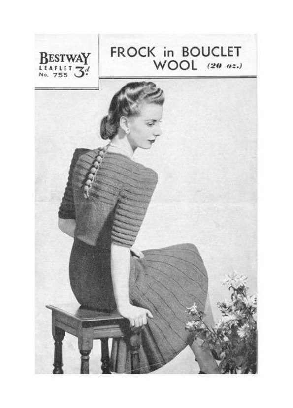 ALMOST FREE Instant PDF Download Vintage Knitting Pattern to make a Graceful
