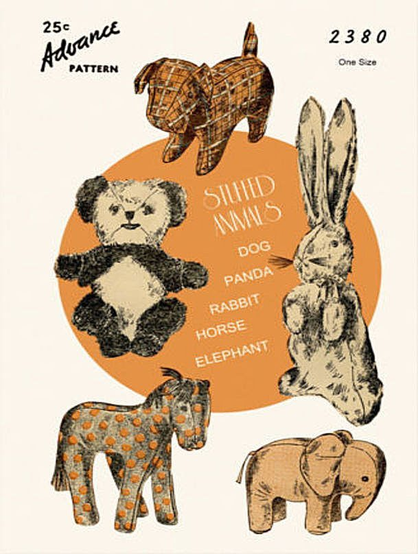 Instant PDF Download Vintage Sewing Pattern to make Easy Soft Toy Animals Panda
