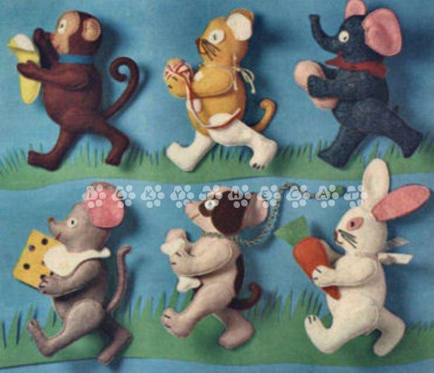 Vintage Chart Sewing Pattern to make Six Animal Stuffed Soft Plush Toys  PDF