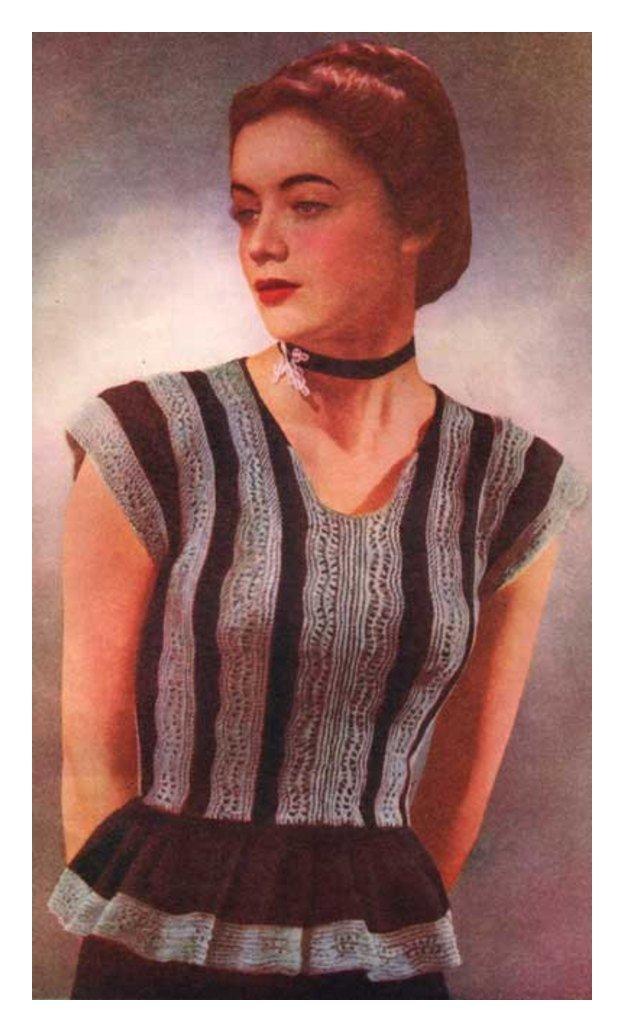 ALMOST FREE Instant PDF Download Vintage Ladies Cap Sleeve Peplum Sweater or