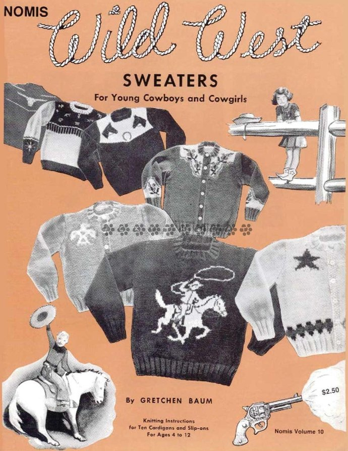 ALMOST FREE! Instant PDF Download Vintage Knitting Pattern Book Wild West 10
