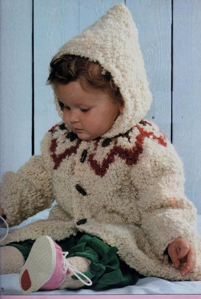 Instant PDF Digital Download Knitting Pattern to make Baby Bebe Toddler An Aran