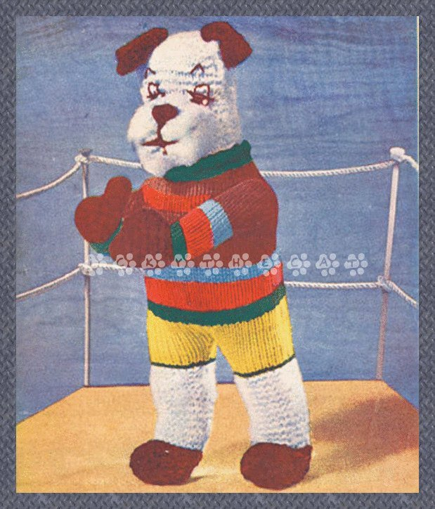 "Vintage 1940's Knitting Pattern to make a Cute Little Boxing Dog 13"" Stuffed"
