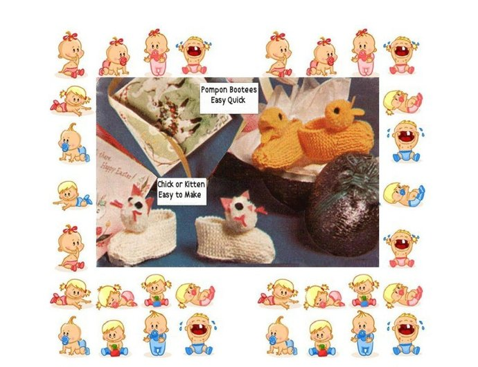 Instant PDF Download Vintage Knitting Pattern Cute Easy Children's Babies Chick