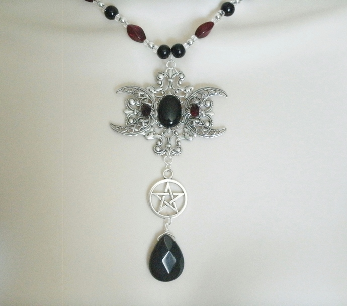 Obsidian Triple Moon Necklace wiccan pagan wicca goddess witch witchcraft