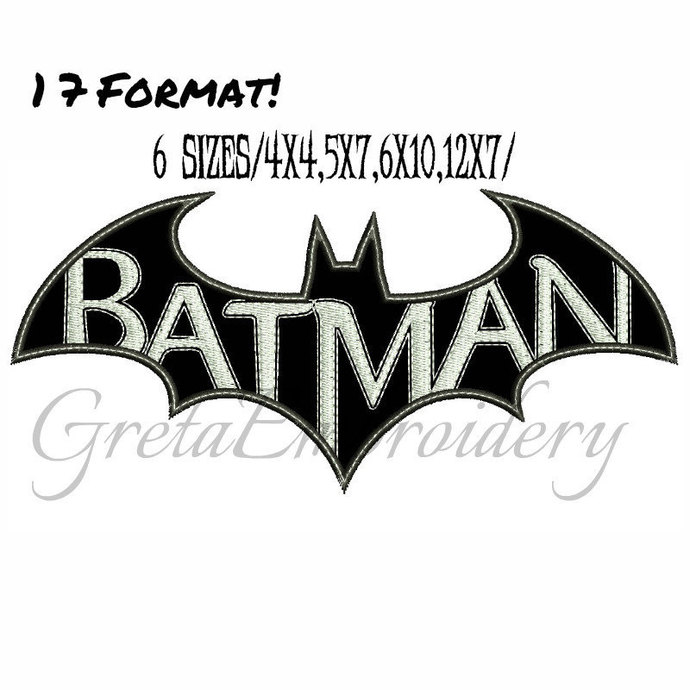 Batman applique Embroidery Design,INSTANT DOWNLOAD,Machine Embroidery