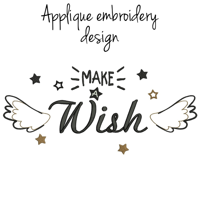 Make a Wish Embroidery Machine Design Christmas digital instant download love
