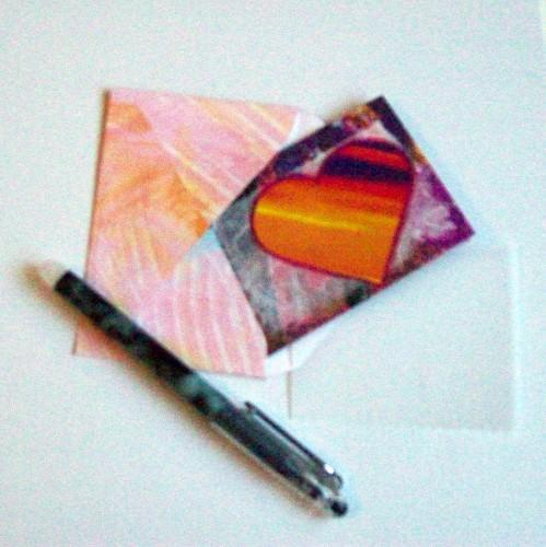 ACEO Gift Card with envelope - Stripe Heart