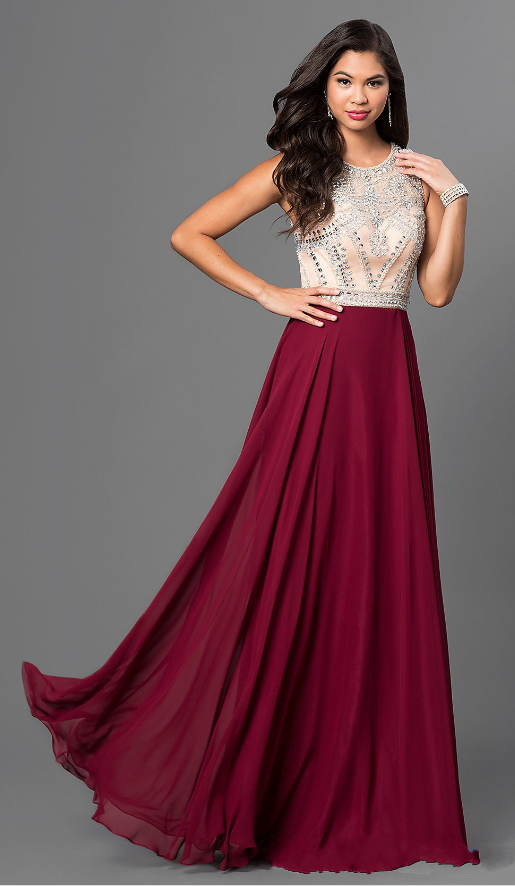 227f5ca75f7 Fashionable Chiffon Scoop Neckline A-Line Prom Dresses With Beads    Rhinestones