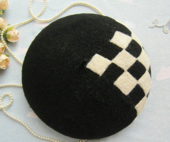 Needle Felted French Beret Hat: Checkerboard