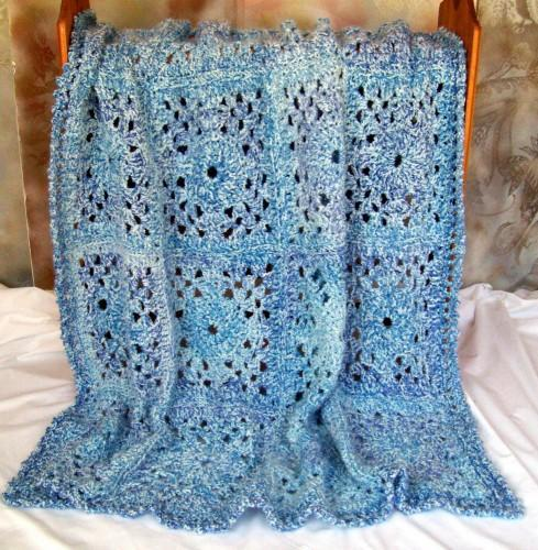 Blue Lace Afghan, crocheted, 48 by 60 inches