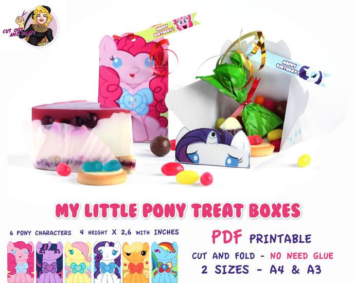 My Little Pony Treat Box, My Little Pony party, Pony birthday, birthday favors,
