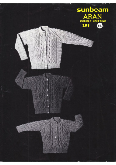 Instant PDF Digital Download Vintage Row by Row Cable Aran Knitting Pattern