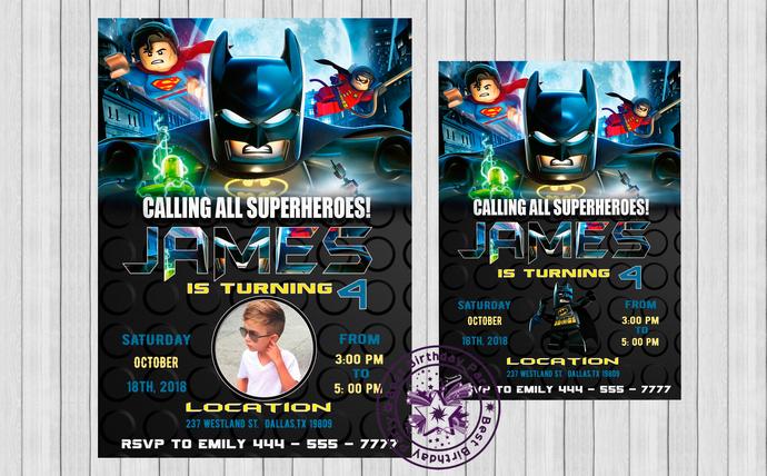 Lego Invitation Lego Batman Birthday By Bestbirthdayparty On Zibbet