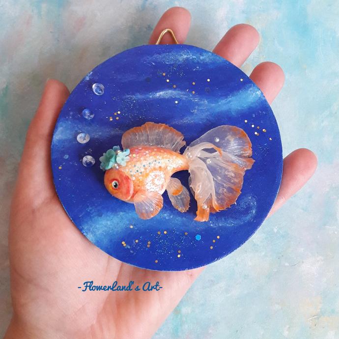 Orange goldfish plaque. One of a kind.