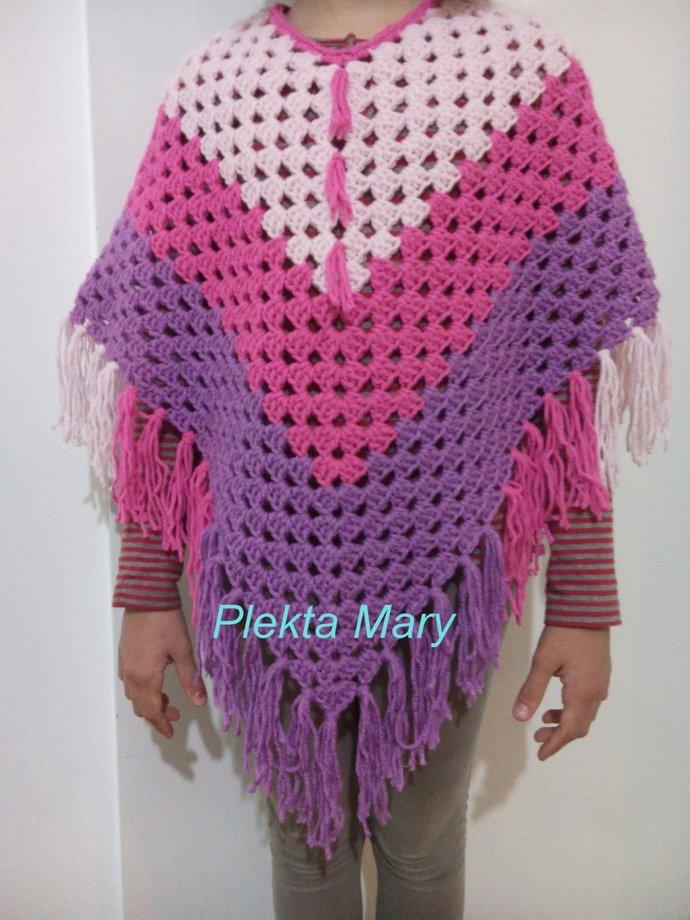 Childâs Crochet Poncho Handmade Boho By Crochetmarygr On Zibbet