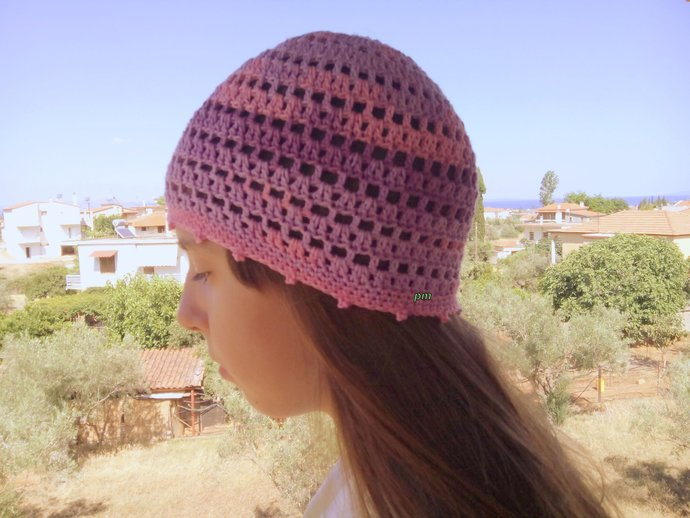 Pink Lilac Purple Summer Beanie Cotton Hat By Crochetmarygr On Zibbet