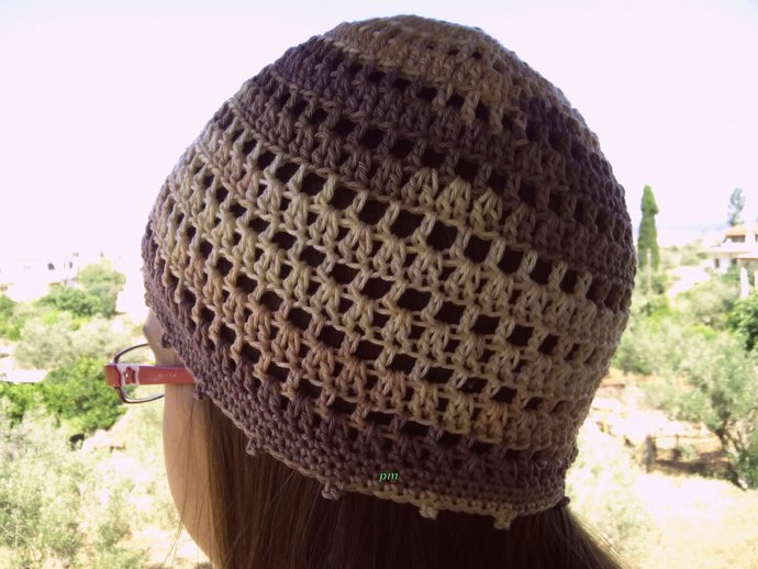 Beige Brown Summer Beanie Cotton Hat Women By Crochetmarygr On Zibbet