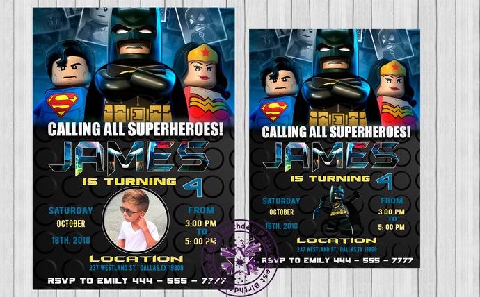 Lego batman birthday party invitations, lego batman birthday party, superhero