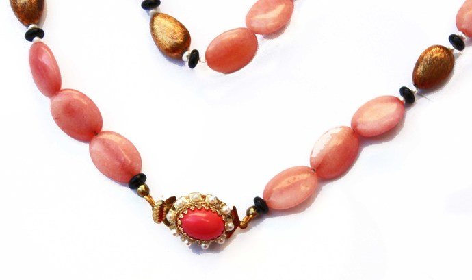 Rhodochrosite Beaded Necklace with opaque oval pink beads, vintage brass, black