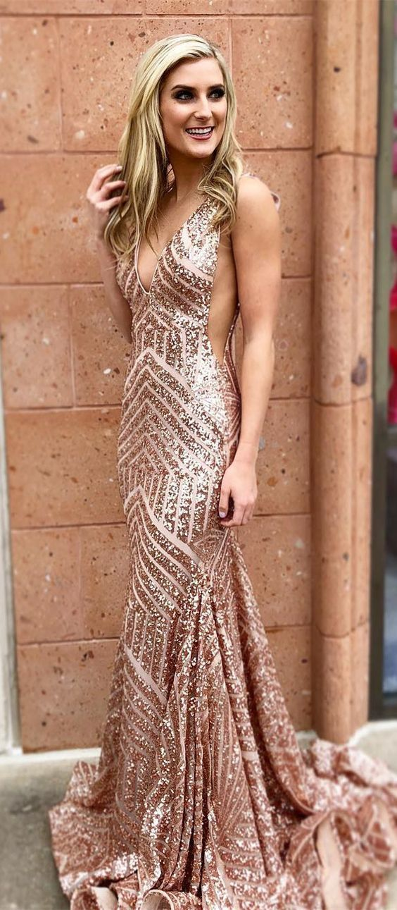 8803c9fb99 Sexy V Neck Rose Gold Sequins Mermaid Long Evening Dress Party Dress Prom  Dress