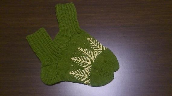 Green socks with Christmas tree, women's knitted socks, women knit socks,
