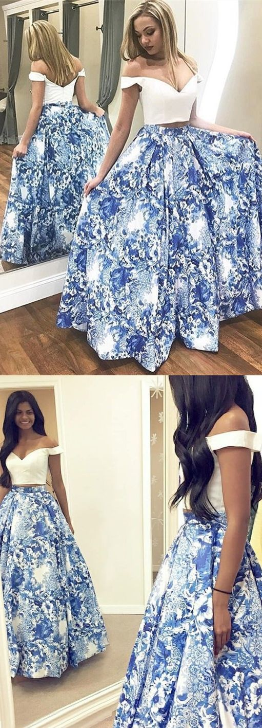 two piece blue floral long prom dresses,elegant off the shoulder a line white