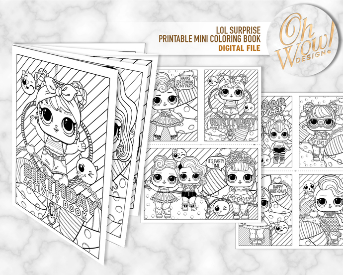 LOL Surprise Doll Birthday Mini Coloring Book: by OhWowDesign on