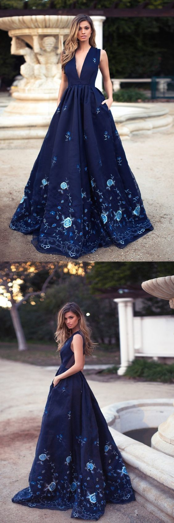 elegant navy plunging prom party dresses with special ppliques, fashion formal