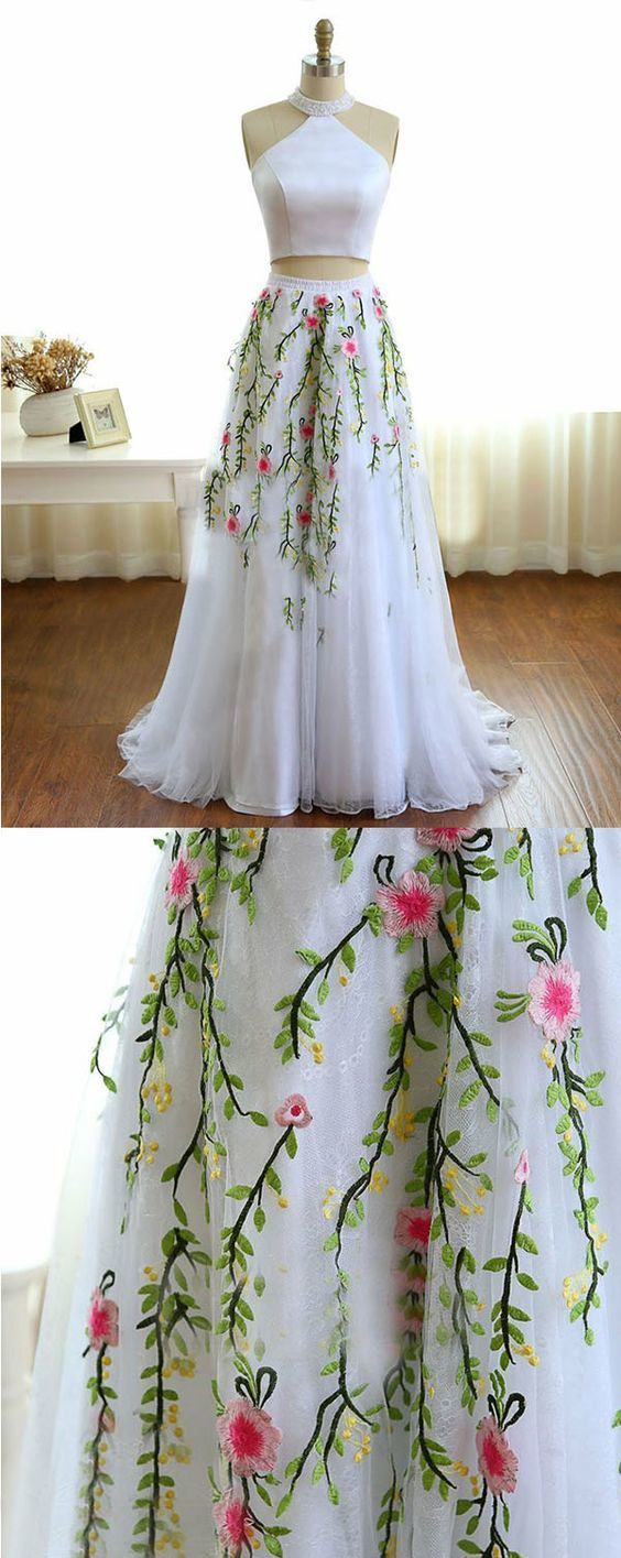 High Neck White Prom Dress with Beading Embroidery, Two Piece Formal Dress