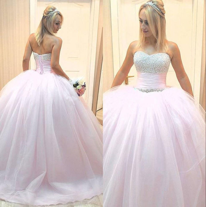 Ball Gown Sweetheart Beading Prom Dress,Long Prom Dresses,Prom Dresses,Evening