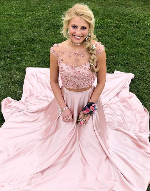 Pink two pieces long prom dress, pink evening dress Elegant Evening Gowns