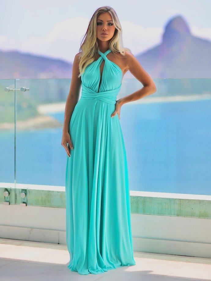 5821adc9a67e Aqua Chiffon Sexy Prom Dresses Long A-line Evening Dresses Cross Back Formal