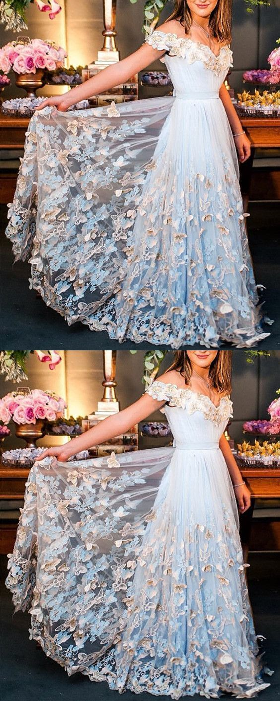 Butterfly Lace Embroidery V-neck Off The Shoulder Tulle Prom Dresses Long Formal
