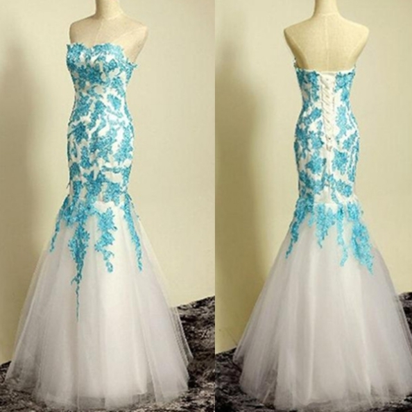 White Tulle Prom Dresses,,Elegant Formal by prom dresses on Zibbet