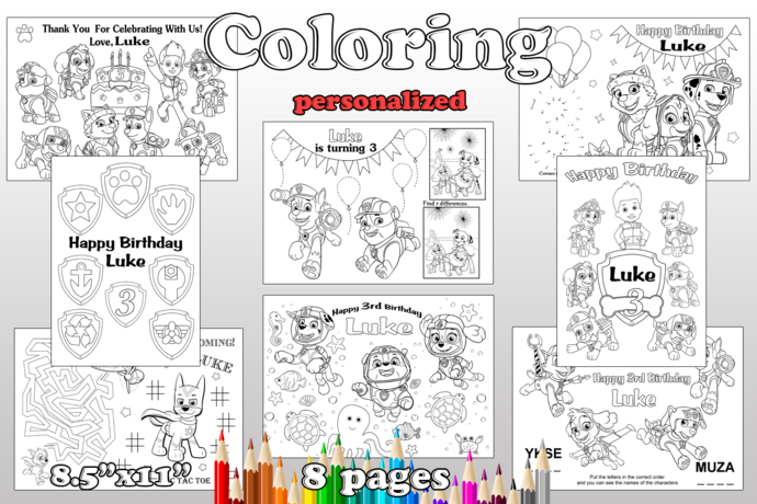 PAW Patrol Birthday Party favor, PAW Patrol coloring pages, PAW Patrol party