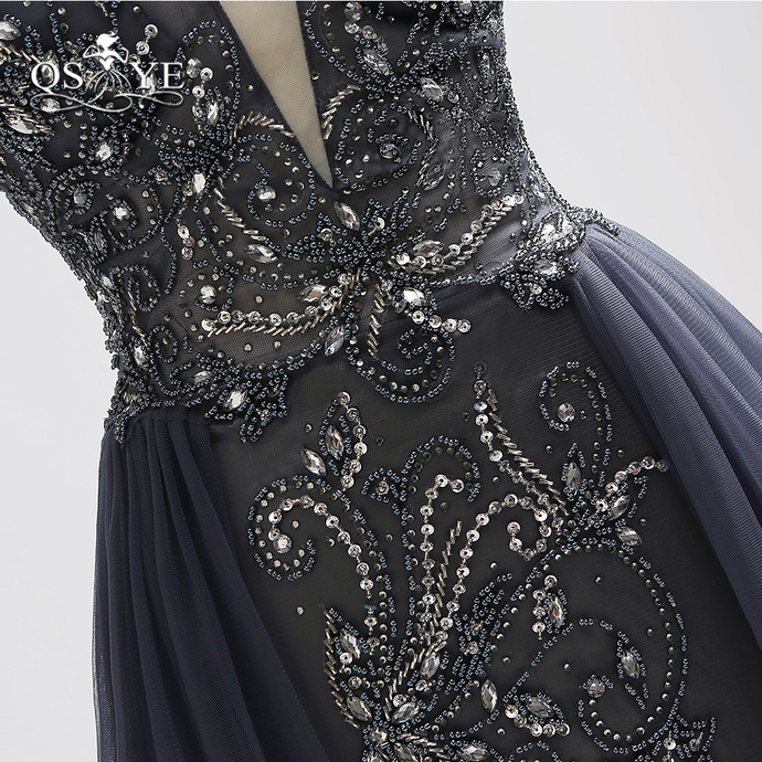Sparking Beading Long Prom Dresses New Arrival Sexy V Neck Open Back Tulle