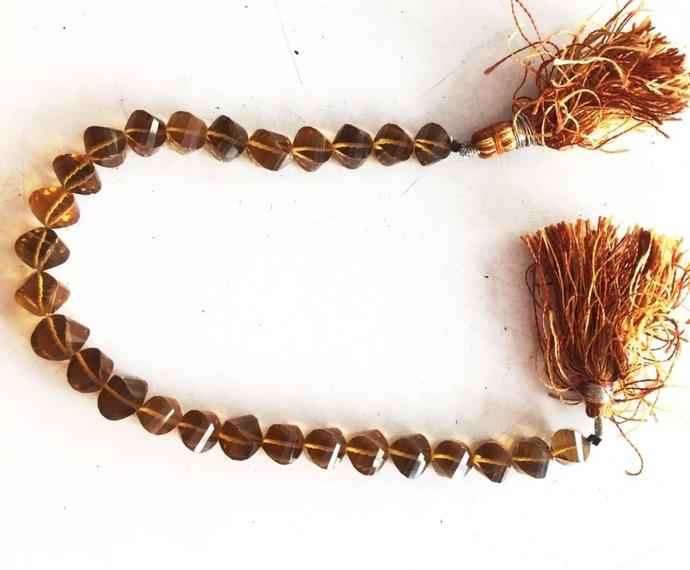 Beer Quartz faceted Square Fancy shape Single strand loose Beads Strand