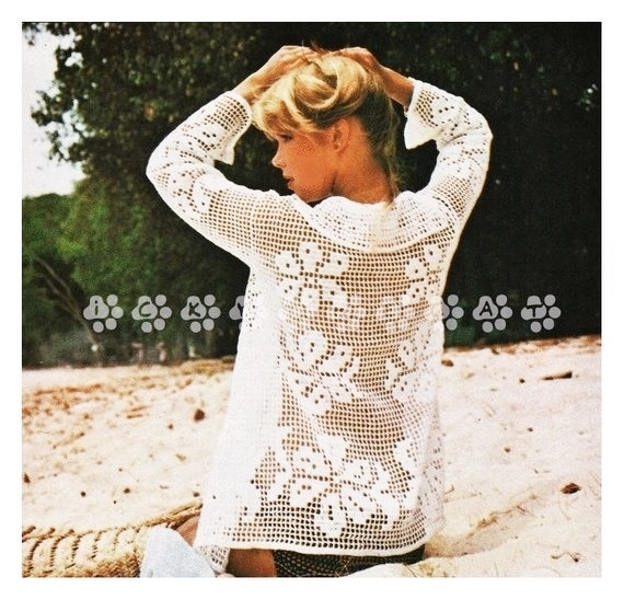 ec21a1eb4024 Vintage Crochet Pattern 1970s to make Ladies Lacy Filet Edge to Edge  Cardigan or