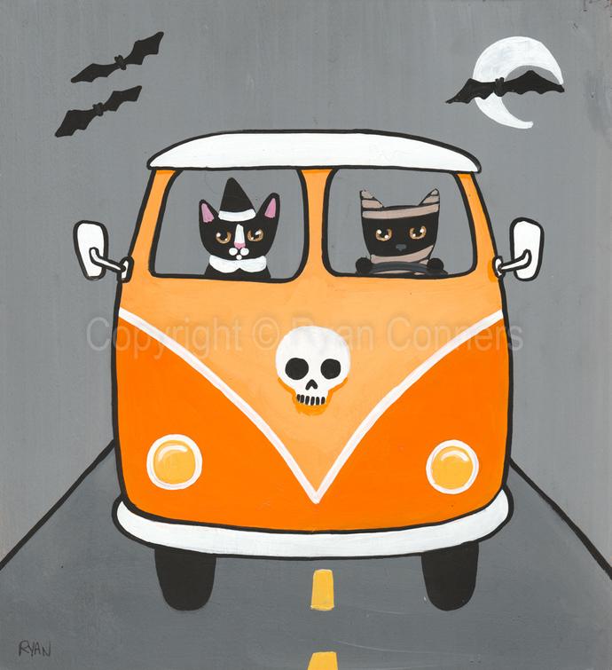 The Halloween Road Trip Original Cat Folk Art Painting