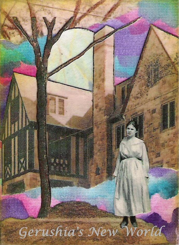 The Lonely Ghost ~ ACEO Watercolor Collage Print