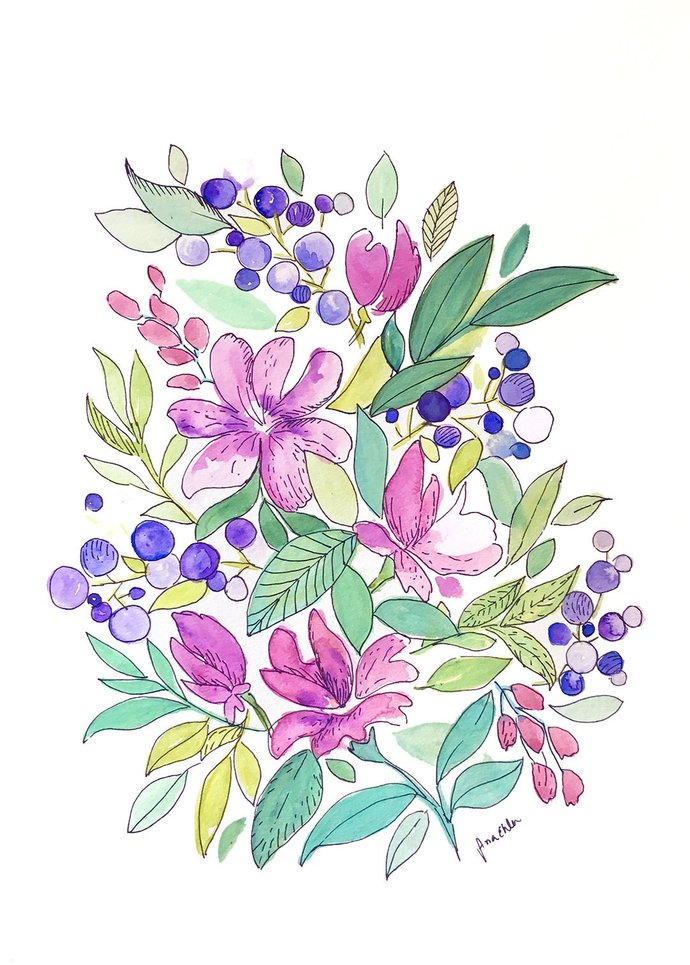 Watercolor original art, not a print, Purple Bouquet, watercolor flowers, art