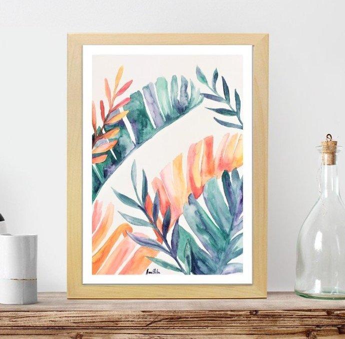 Watercolor Foliage painting, original art, not a print, watercolor leaves