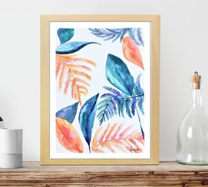 Foliage watercolor painting, original art, not a print