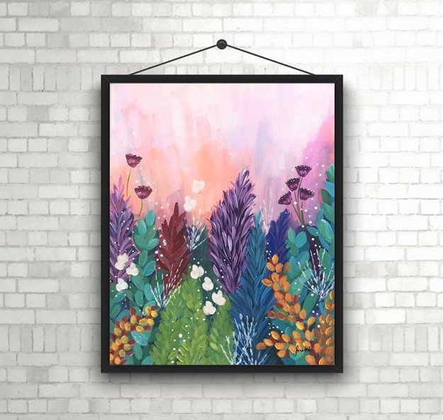 Purple sky and flowers painting, original art, not a print, acrylic painting on