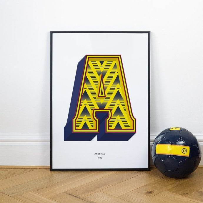 A is for Arsenal 1991, Football Typography Shirt Print