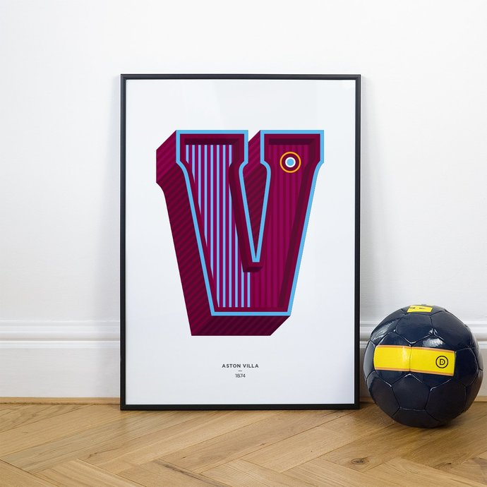 V is for Villa, 87-89 Football Typography Shirt Print