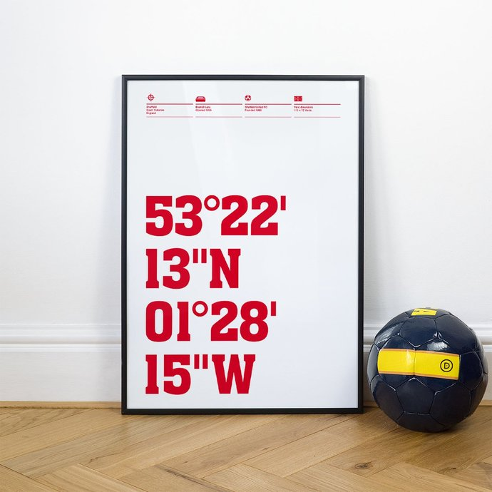 Sheffield United, Football Stadium Coordinates Posters