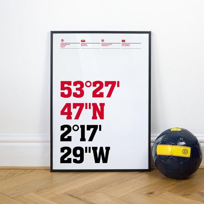 Man United, Football Stadium Coordinates Posters