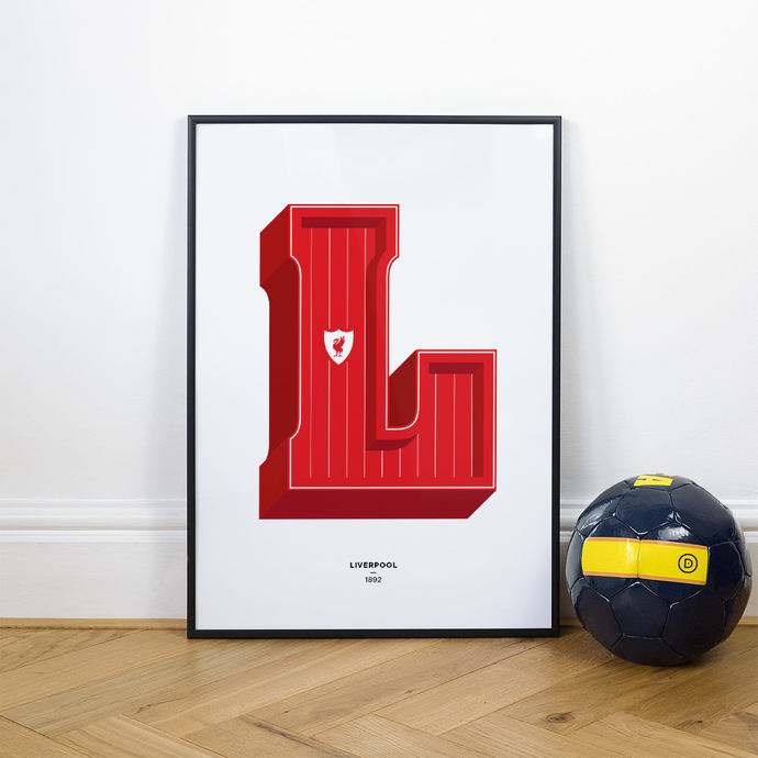 L is for Liverpool, Football Typography Print